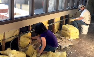 Members of the Grace Crossing Methodist Church in Longview strip insulation from the Wesley Methodist Center on the Lamar University campus, Sept. 8. The group was in Southeast Texas helping clean up after Hurricane Harvey. The Wesley Center got four inches of flood water from the storm.