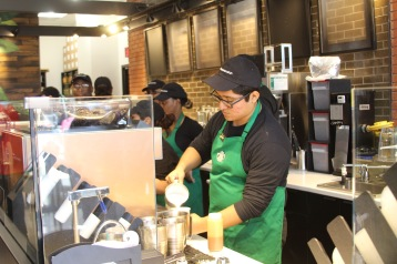 New Starbucks employees test their skills in preparation for Tuesday's grand opening in the new Starbucks located in the lobby of Gray Library. UP photos by Olivia Malick.
