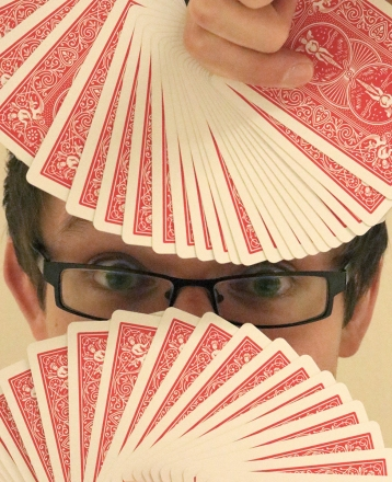 """Grant Freeman practices for """"An R-Rated Magic Show"""" at the Mary and John Gray Library Feb. 12."""