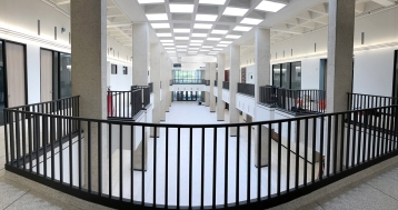 As apart of the newly renovated arbor in the Setzer Center, the raised seating area and stairs have been removed.