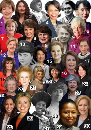 1. Tammy Baldwin, current U.S. Senator; 2. Tammy Duckworth, current U.S. Senator; 3. Mary McLeod Bethune, civil rights activist; 4. Condoleezza Rice, former U.S. Secretary of State; 5. Indira Gandhi, former Prime Minister of India; 6. Aung San Suu Kyi, current State Counsellor of Burma; 7. Angela Merkel, current Chancellor of Germany; 8. Dianne Feinstein, current U.S. Senator; 9. Janet Reno, former U.S. Attorney General; 10. Eleanor Roosevelt, 32nd U.S. First Lady; 11. Ann Richards, former Governor of Texas; 12. Elizabeth Warren, current U.S. Senator; 13. Frances Perkins, former U.S. Secretary of Labor; 14. Elaine Chao, current U.S. Secretary of Transportation; 15. Madeleine Albright, former U.S. Secretary of State; 16. Nancy Pelosi, current U.S. House Minority Leader; 17. Ruth Bader Ginsburg, current Associate Justice of the U.S. Supreme Court; 18. Sarah Palin, former Governor of Alaska; 19. Sandra Day O'Connor, former Associate Justice of the U.S. Supreme Court; 20. Margaret Thatcher, former British Prime Minister; 21. Abigail Adams, 2nd U.S. First Lady; 22. Michelle Obama, 44th U.S. First Lady; 23. Theresa May, current British Prime Minister; 24. Sonia Sotomayor, current Associate Justice of the U.S. Supreme Court; 25. Kamala Harris, current U.S. Senator; 26. Hillary Clinton, 2016 Democratic Presidential Nominee; 27. Shirley Chisholm, former U.S. Congresswoman; 28. Jeannette Rankin, former U.S. Congresswoman; 29. Carol Moseley Braun, former U.S. Senator; 30. Kirsten Gillibrand, current U.S. Senator. UP graphic by Olivia Malick.