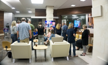 Republicans participated in the election watch party, Nov. 6, at Edison Plaza in downtown Beaumont as they wait to see Jeff Branick, candidate for the Jefferson County judge, win the local election. UP photo by Cassandra Jenkins
